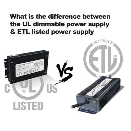 What is the difference between the UL listed 20w/45w triac dimmable power supply and 24w/48w ETL listed power supply?